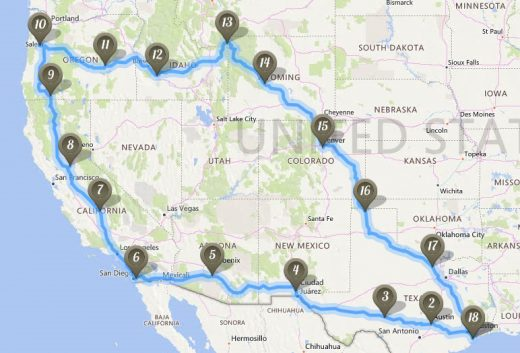 Trip Route Through Western US