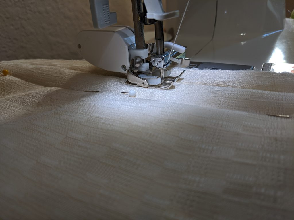 Using a walking foot to stitch the sides