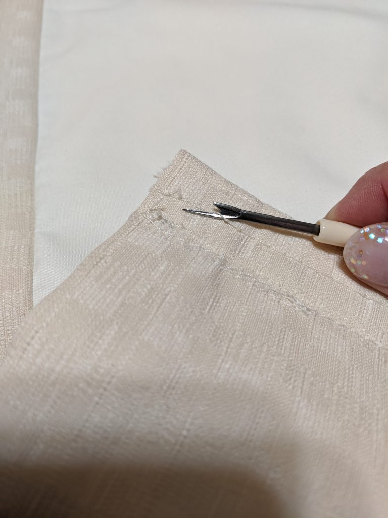 Remove the basting stitches